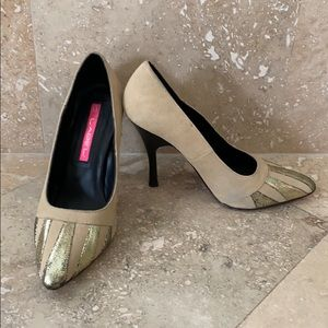 C Label gold leather and suede pumps